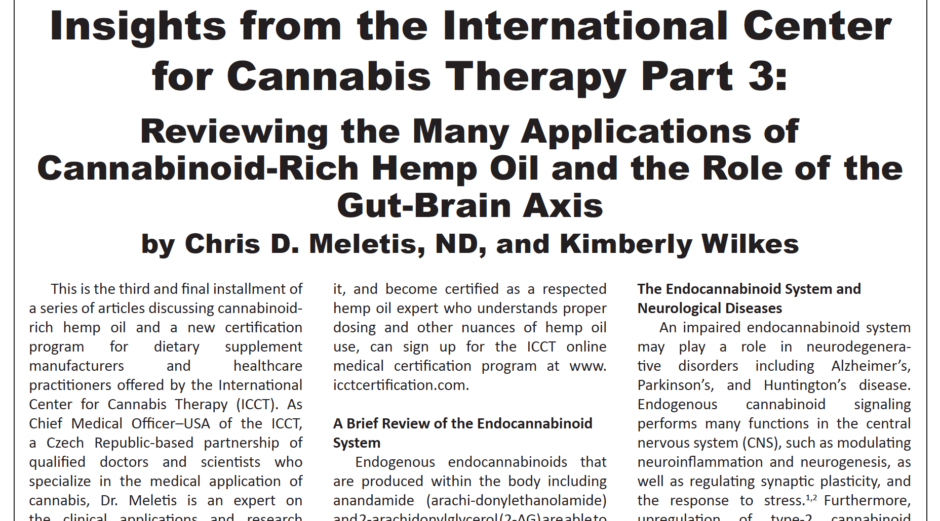 Insights from the International Center for Cannabis Therapy Part 3