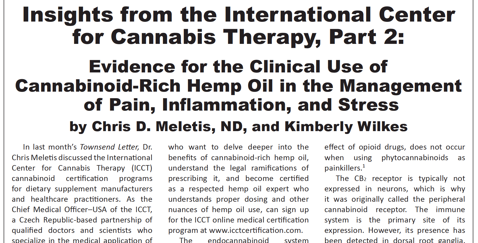 Insights from the International Center for Cannabis Therapy, Part 2