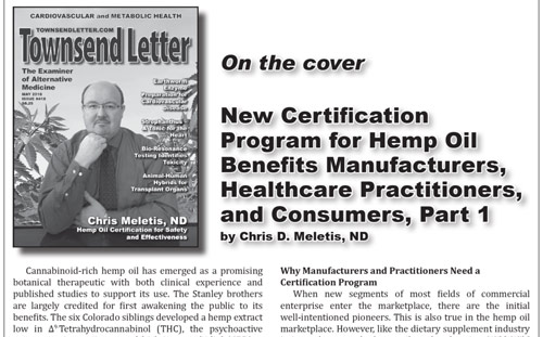 New Certification Program for Hemp Oil Benefits Manufacturers, Healthcare Practitioners, and Consumers, Part 1
