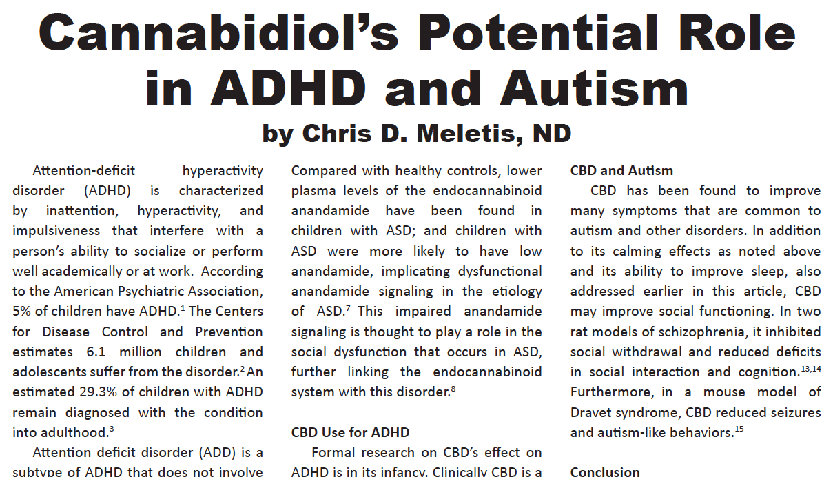 Cannabidiol's Potential Role in ADHD and Autism